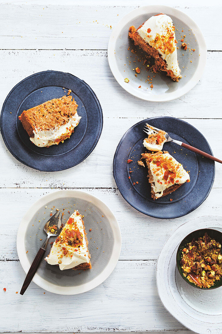 Carrot, parsnip and zucchini cake with pistachio praline