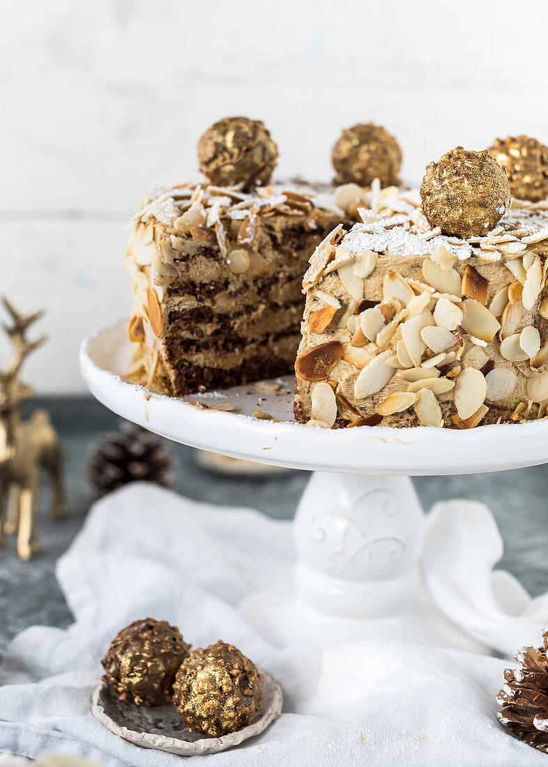 Christmas almond tart, sliced