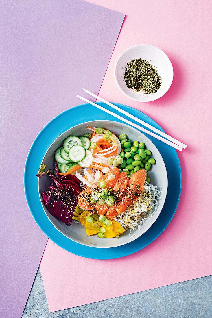 Furikaki aburi salmon bowl