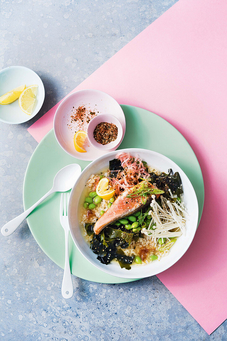 Ochazuke broth with salmon and brown rice bowl