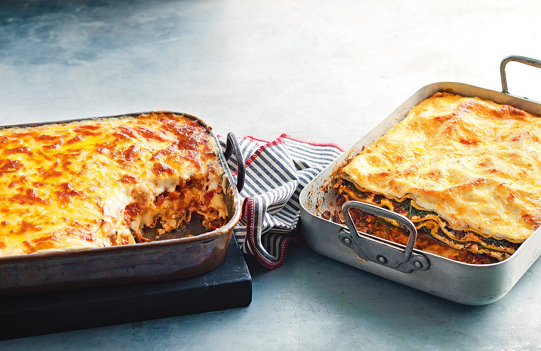 Pork and beef lasagne, vegeterian mushroom and spinach lasagne