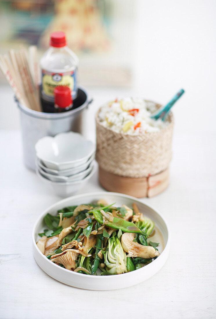 Asian Greens with Kaffir Lime Rice