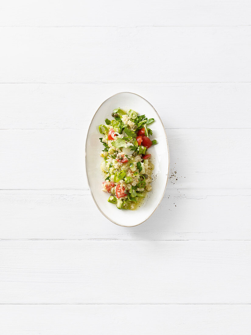 Quinoa tabouleh with coriander and capers