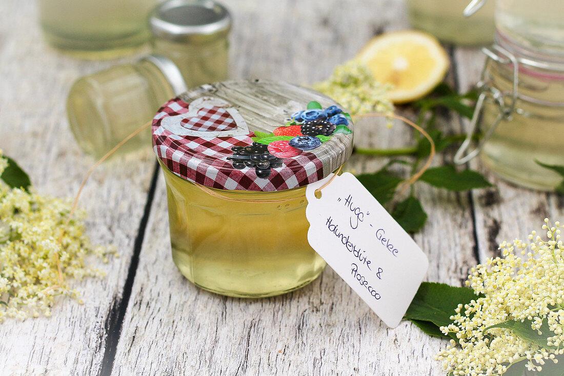 Homemade Hugo jelly (elderflower and prosecco jelly)