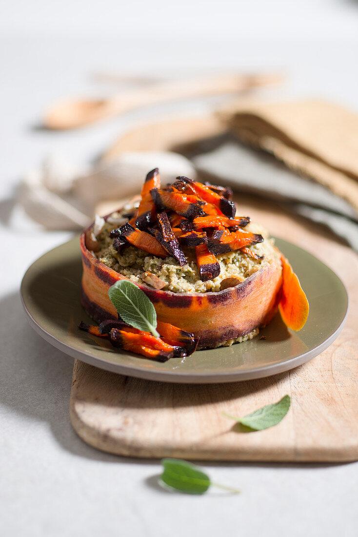 Panzanella con pesto alla salvia (carrots with a sage, almond and bread pesto, Italy)
