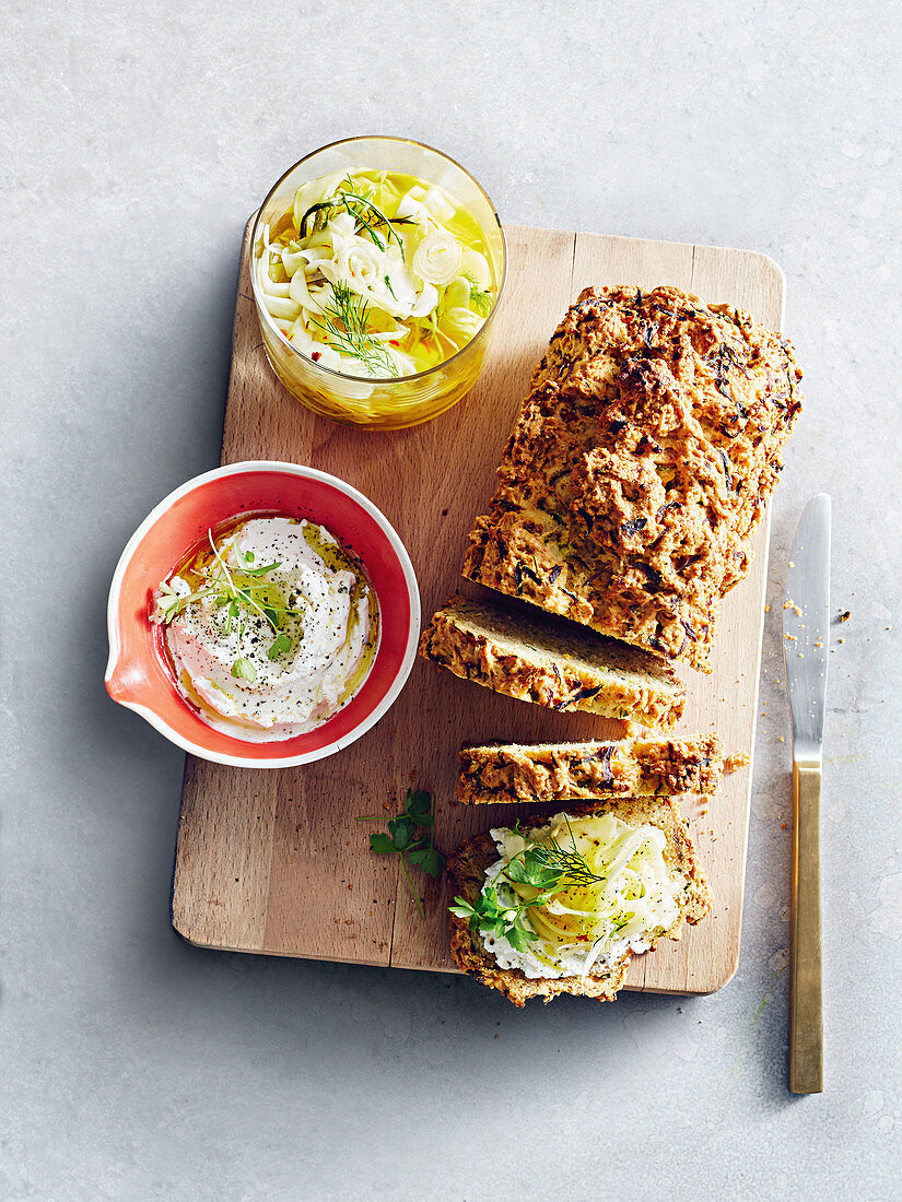 Zucchini bread with pickled fennel & onion