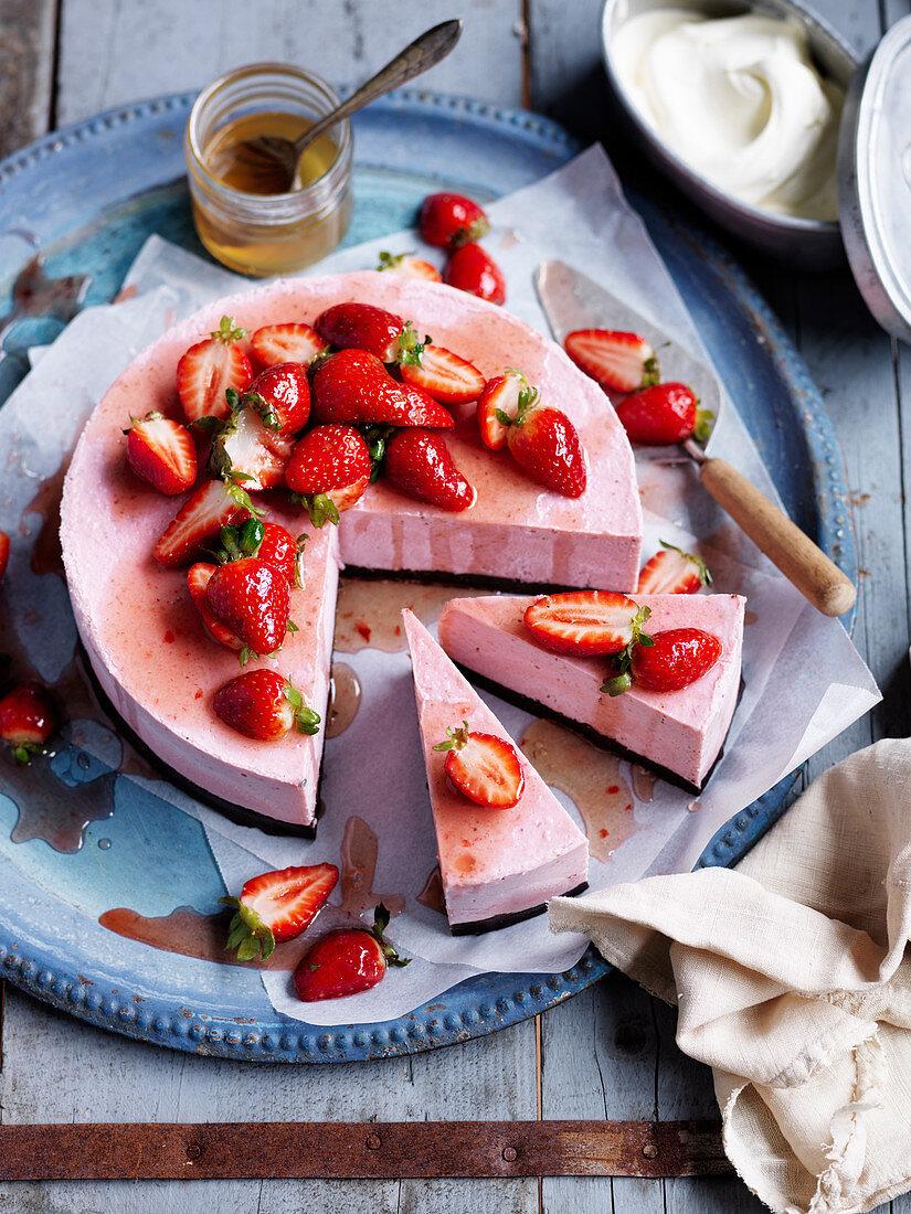 Vegan Brownie and Strawberry Frozen Cheesecake