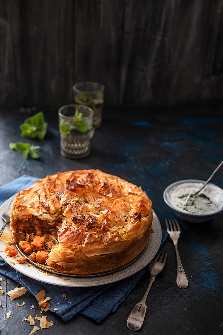 Vegetable moroccan pie made with filo pastry