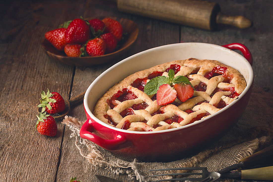 Homemade traditional strawberry pie