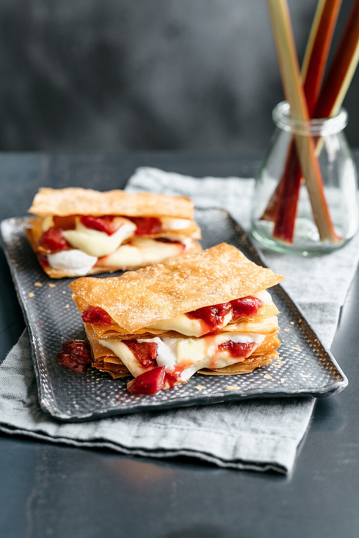 Rhubarb millefeuille with whipped cream