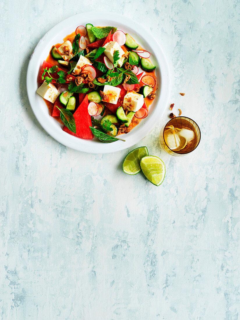 Vegan Tofu, watermelon and radish salad with nahm jim