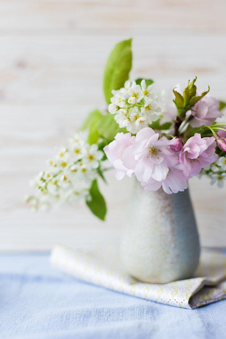 Ceramic vase of spring flowers