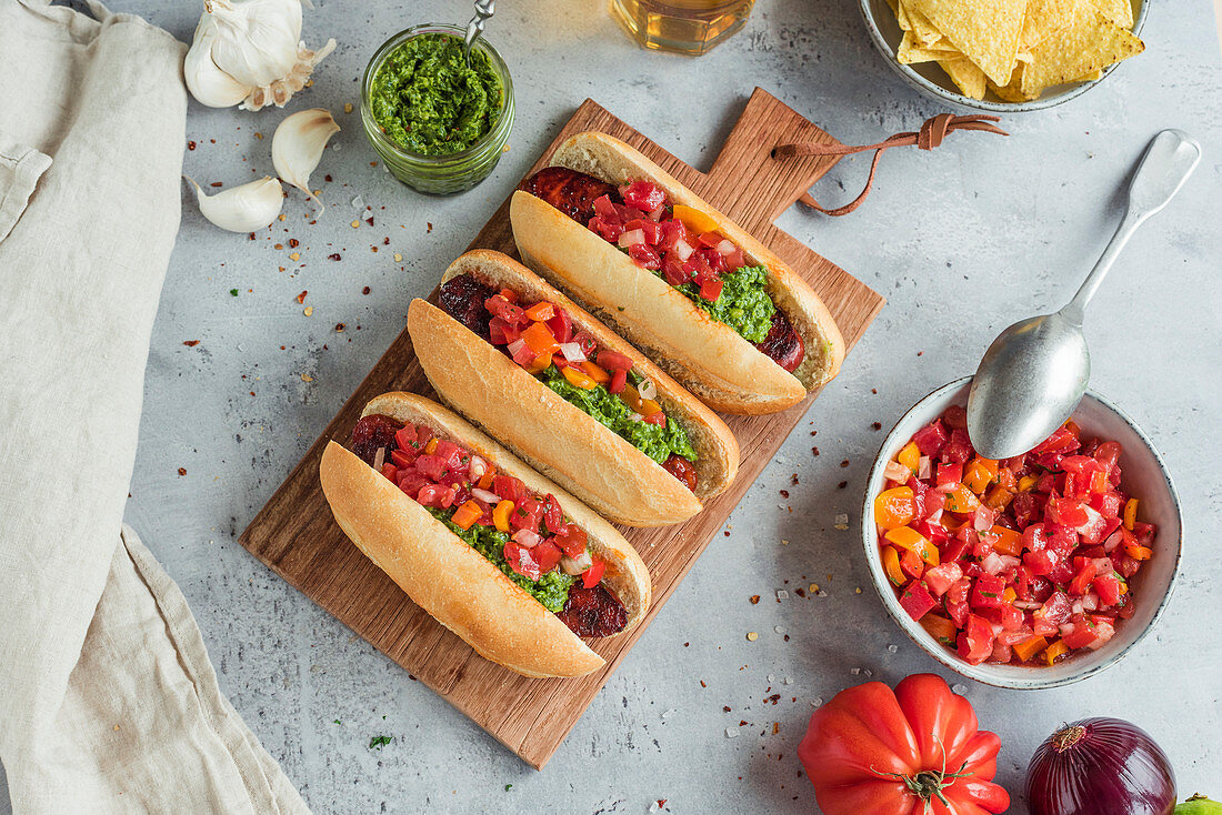 Choripan (Argentinian hot dogs with chorizo and chimichurri)