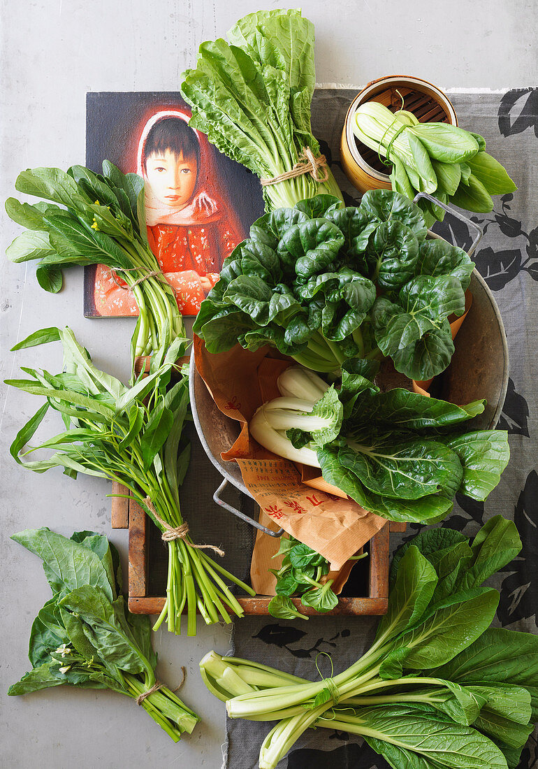 Green Asian vegetable and herbs