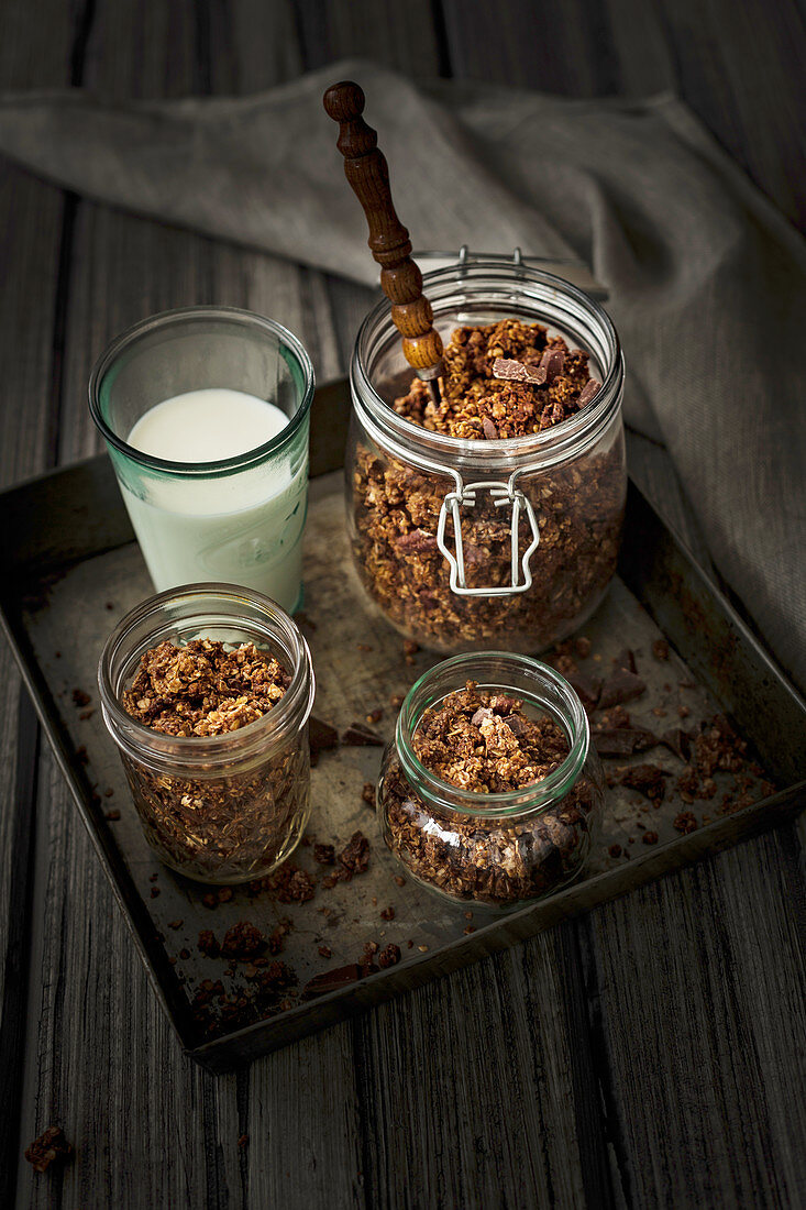 Breakfast oat granola with cocoa, chocolate and pecans