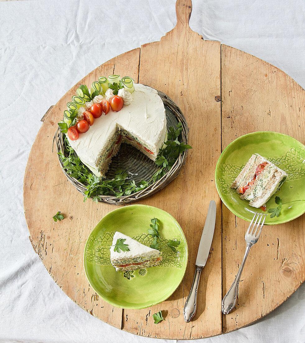 Cake Morgh (Persian sandwich pie with chicken spread)