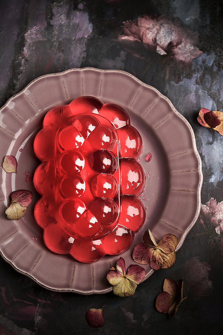 Raspberry jelly on a plate