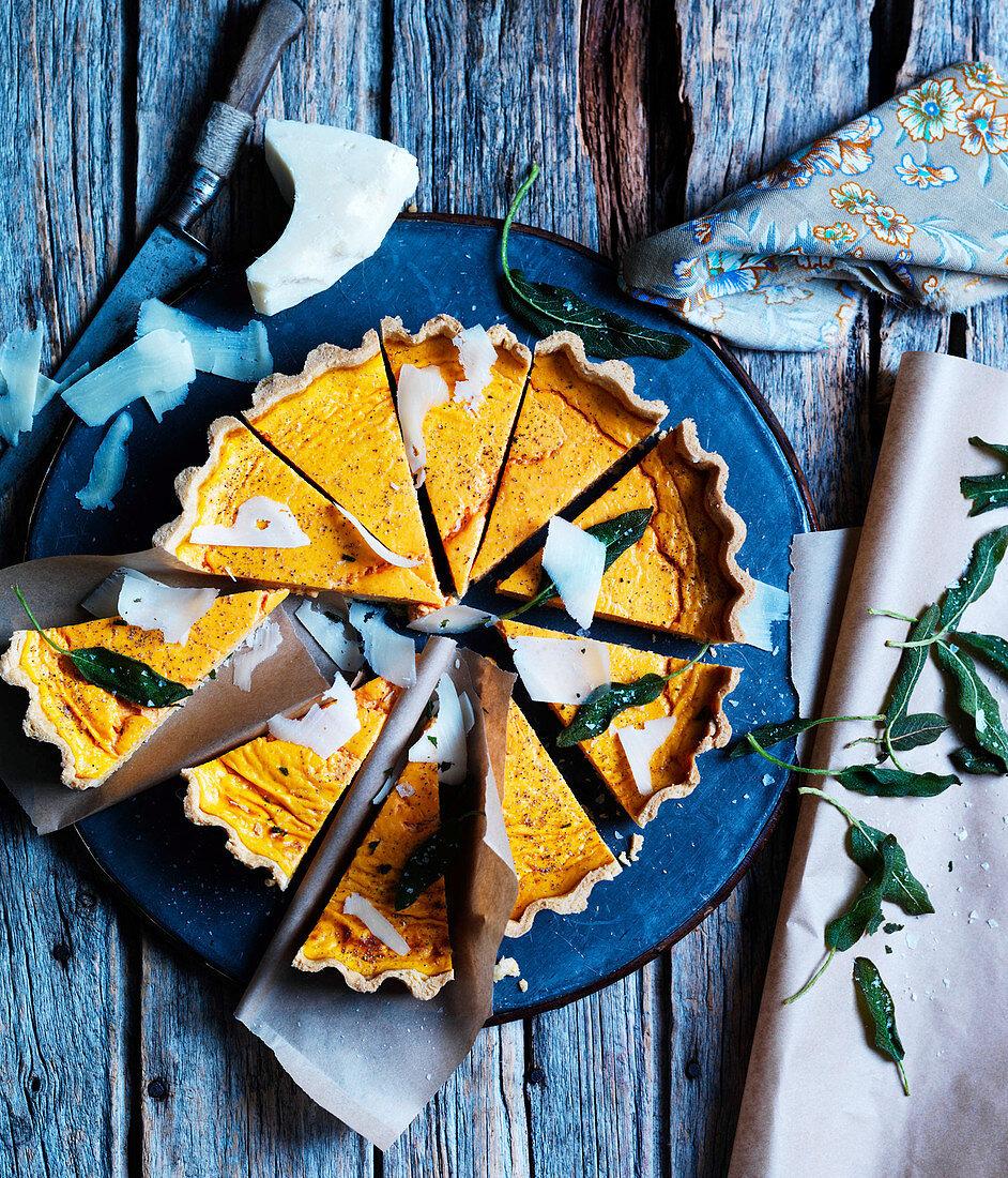 Pumpkin tart with pecorino and sage