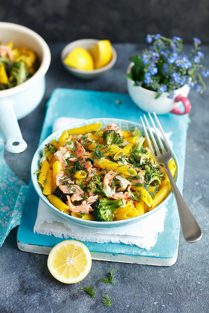 Gluten-free pasta with smoked salmon and broccoli