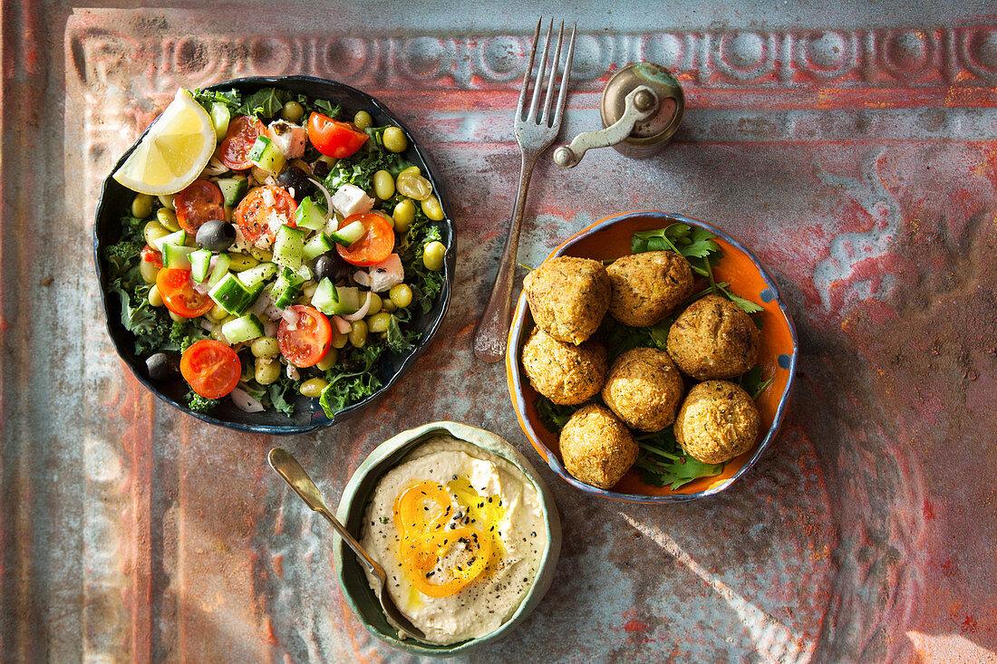 Falafel with salad and hummus