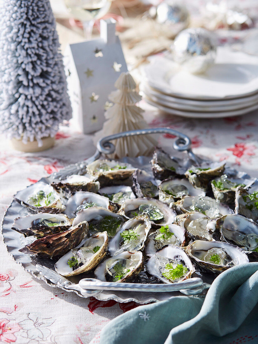 Oysters with sparkling Chardonnay jelly