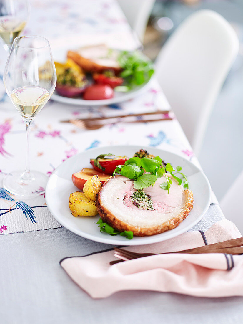 Crisyp crackling pork with sweet onions and plums