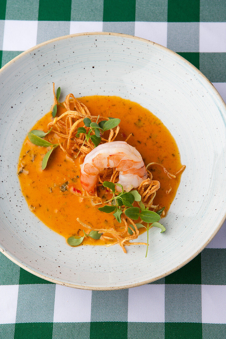 Coconut and curry soup with prawns