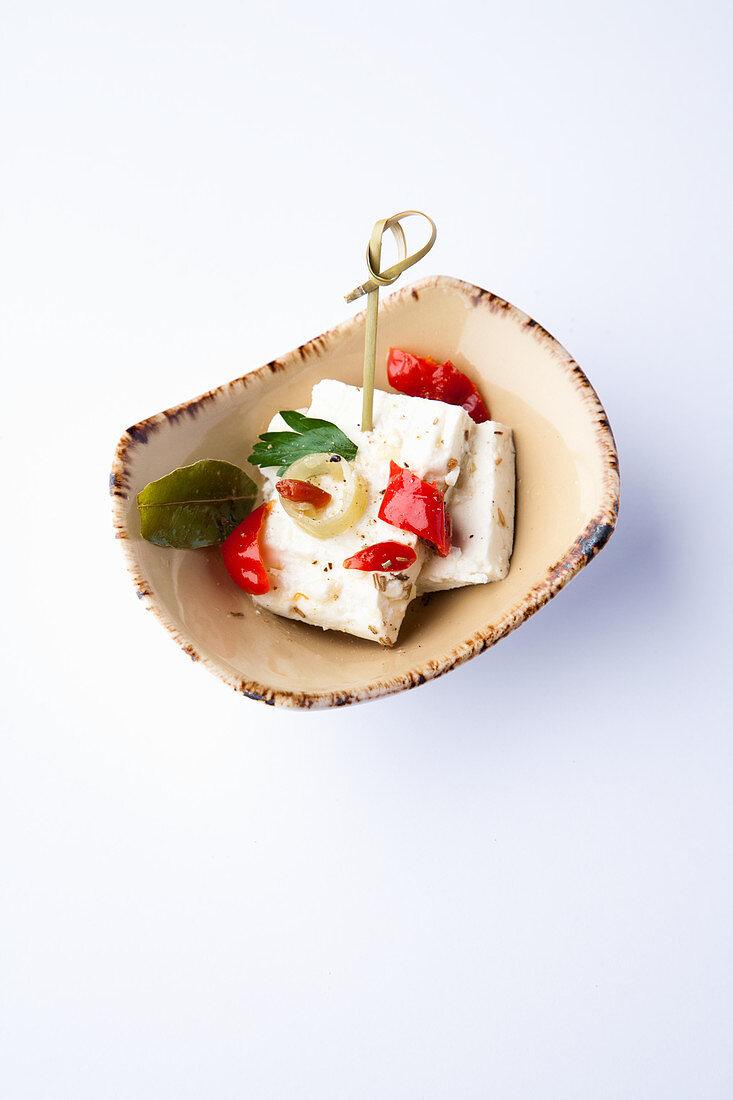 Marinated sheep's cheese tapas