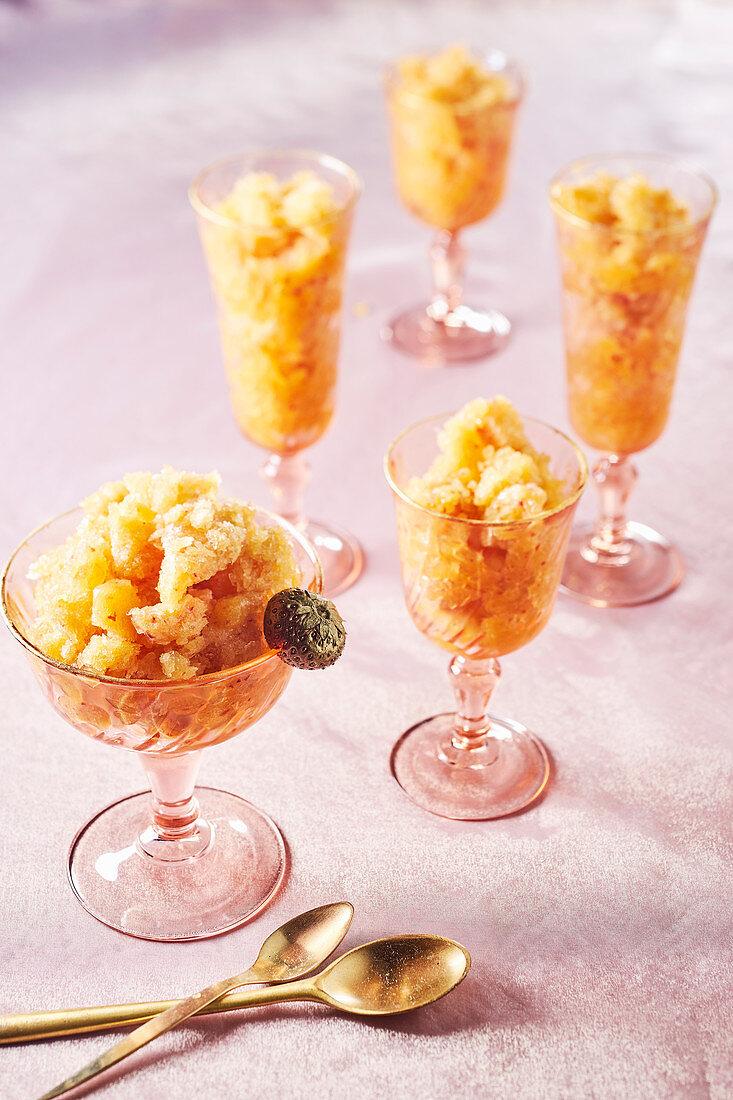 Granita in dessert glasses