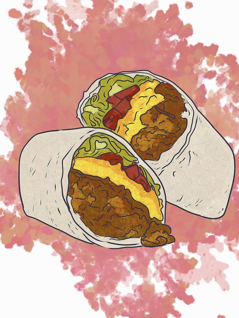 A cheeseburger burrito (illustration)