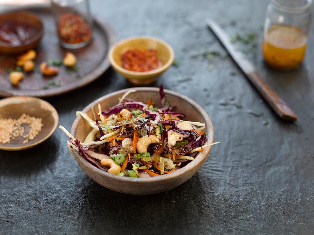 Thai style grain salad with crunchy seeds