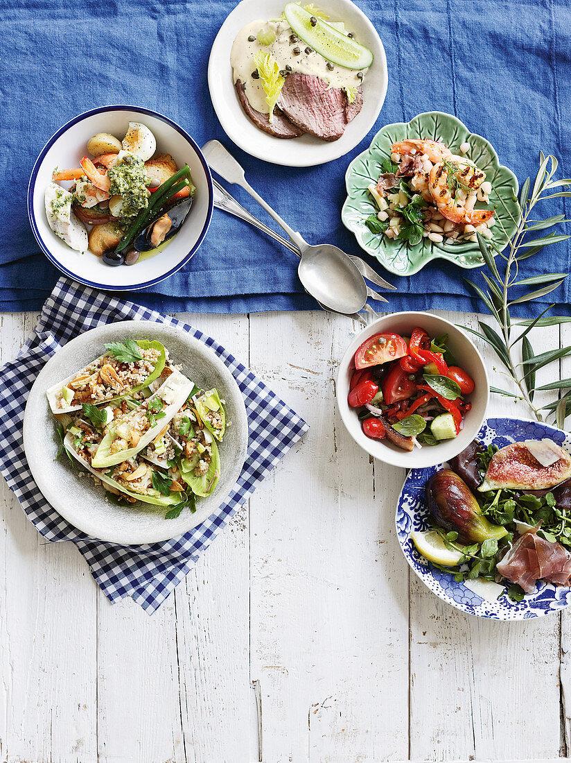 Six Italian salads