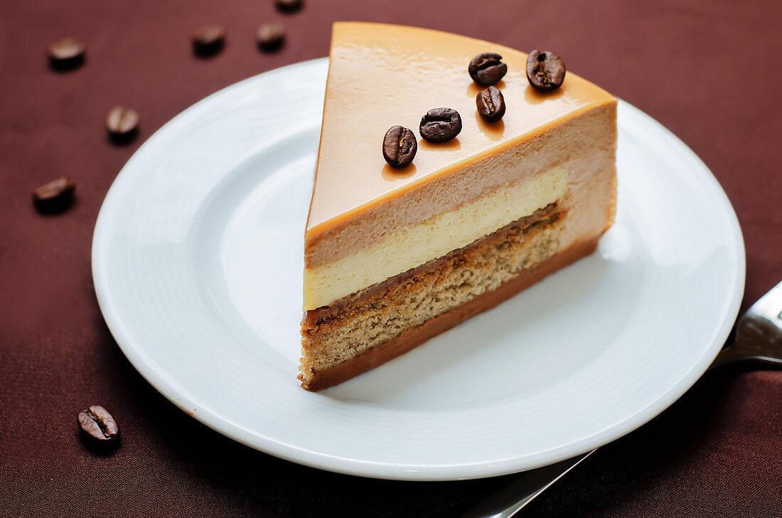 Coffee caramel cream brulee mousse cake