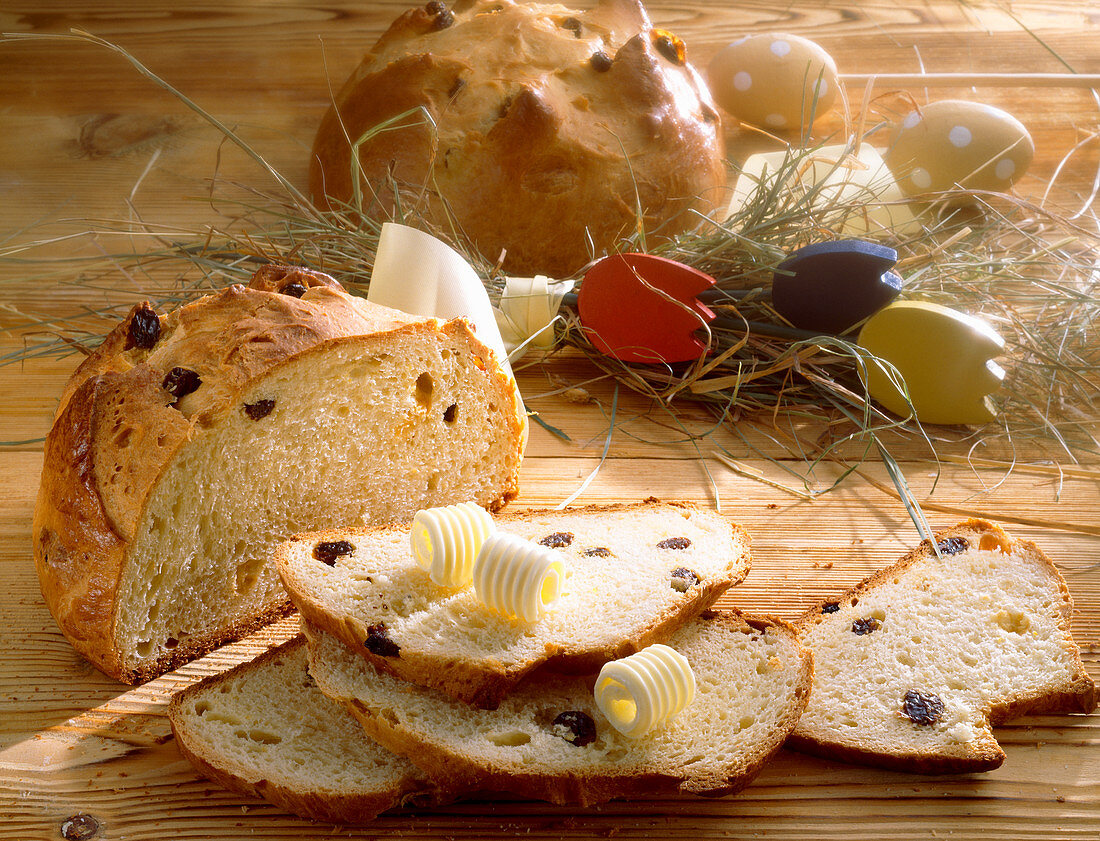 Sweet Easter bread with sultanas and butter