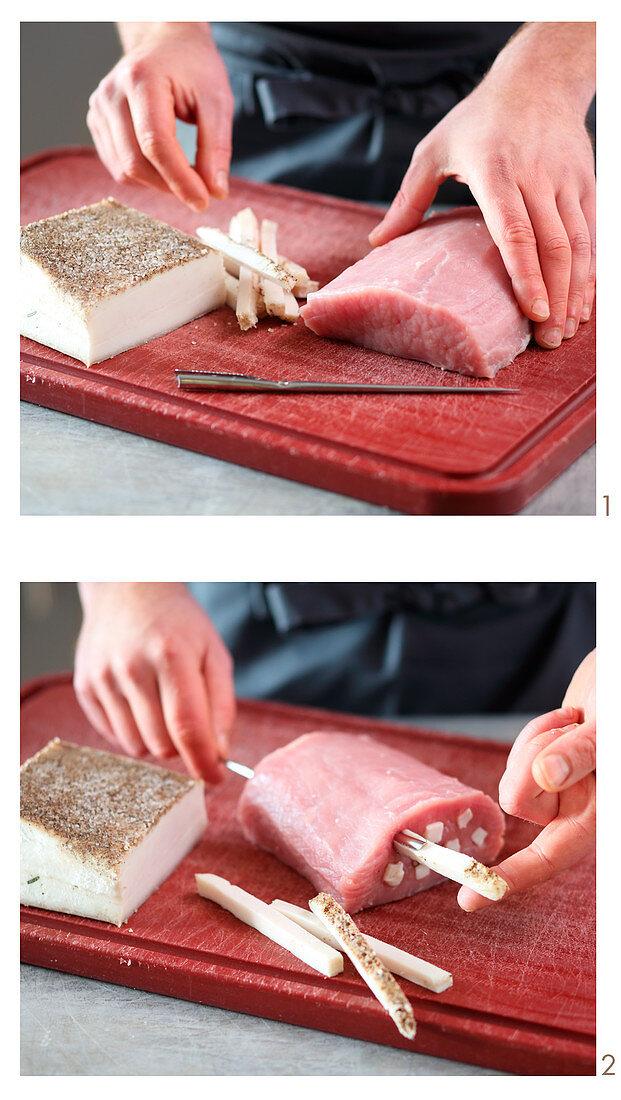 Meat being larded