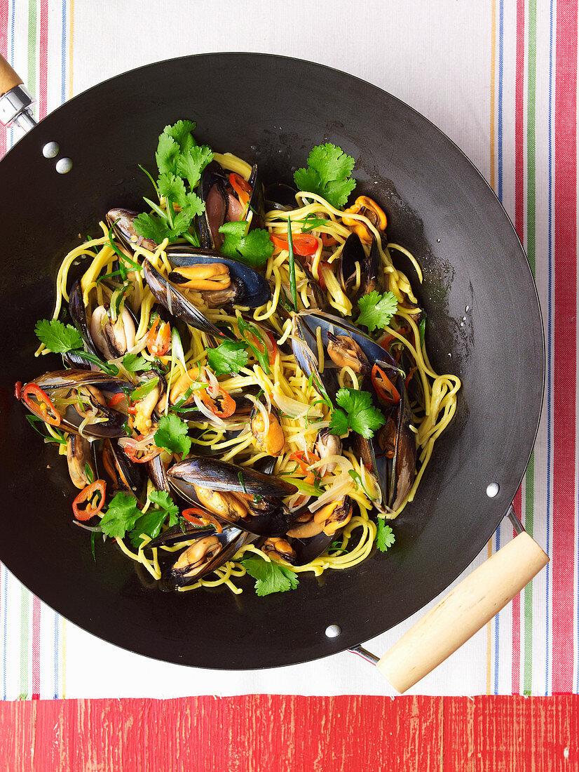 Stir-Fried Sweet Chilli Mussels and Hokkien Noodles