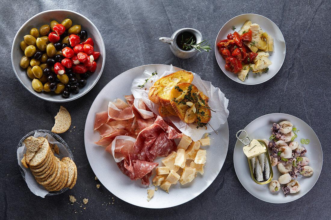 Various antipasti (Italy)