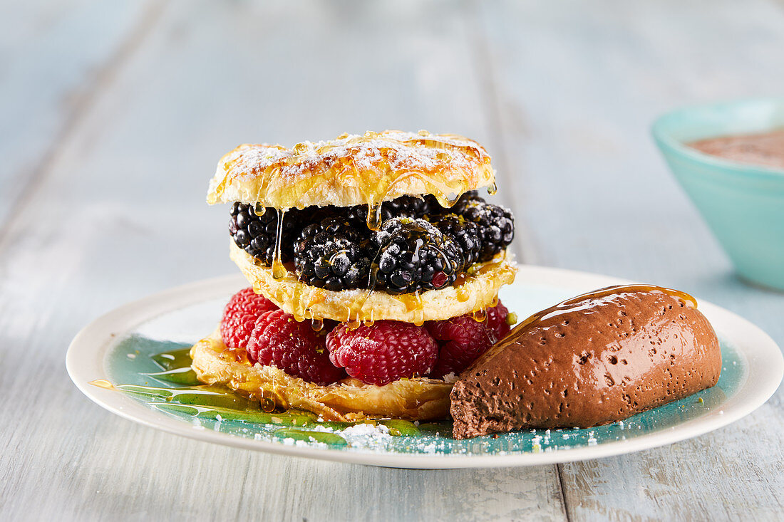 Mousse au chocolat and berry tartlets