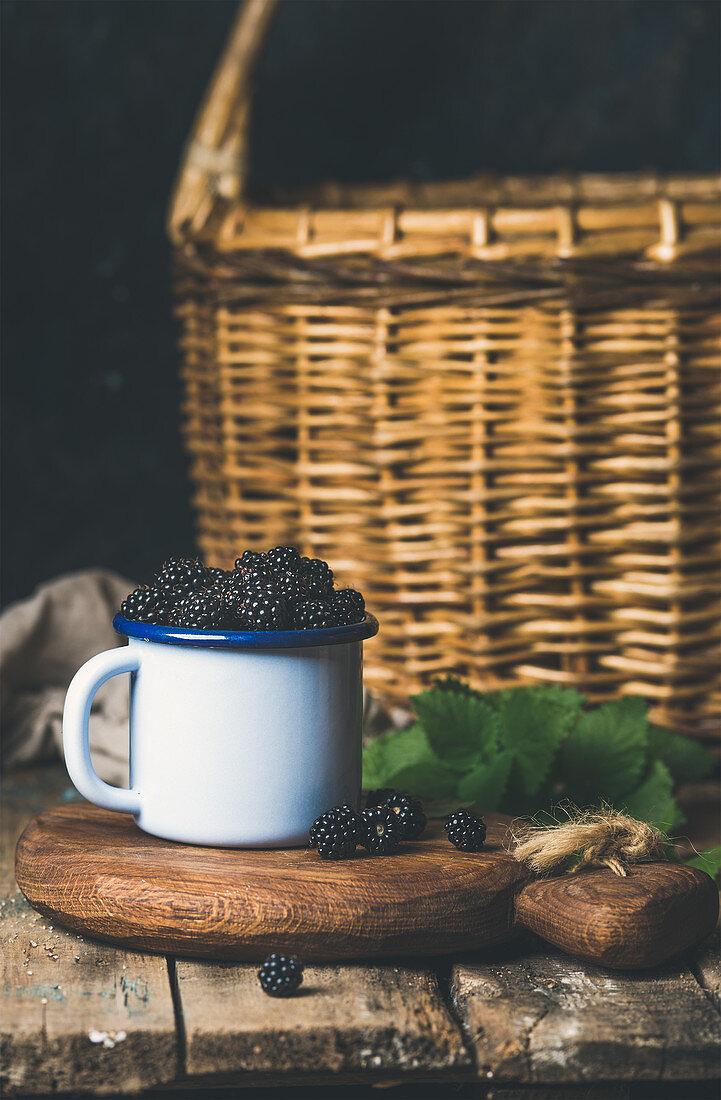 Fresh Blackberries in white cup