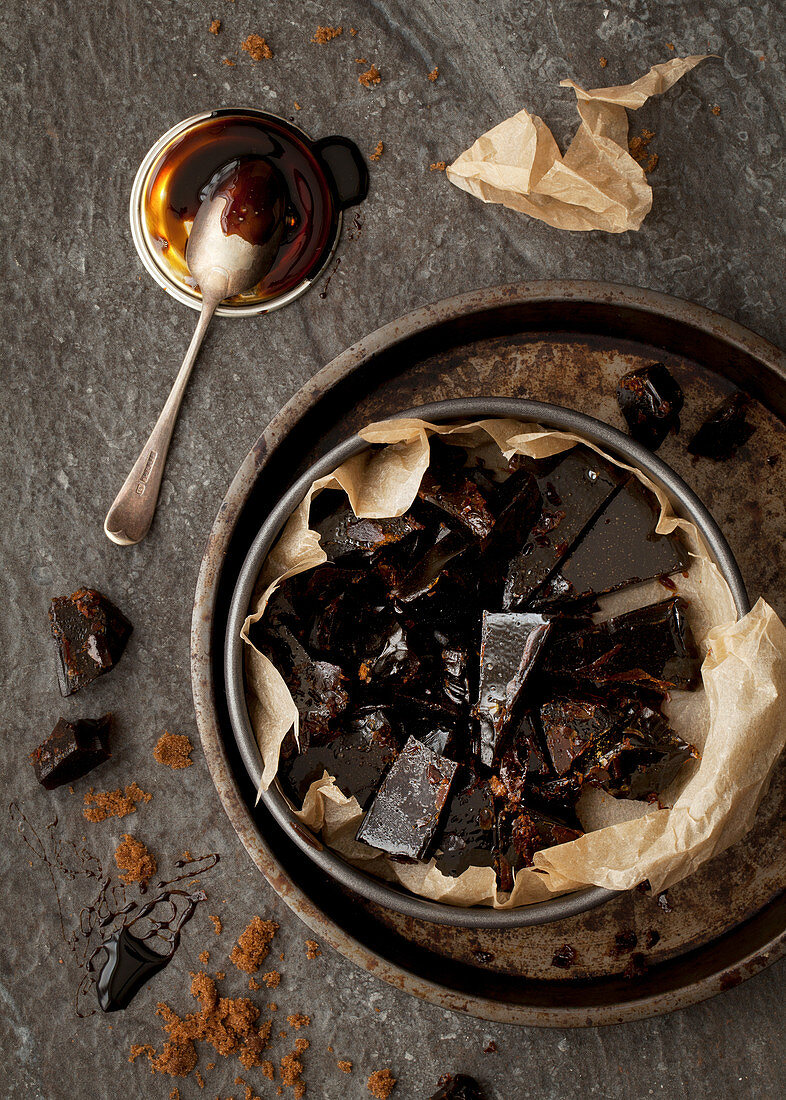 Bonfire toffee pieces in a tin