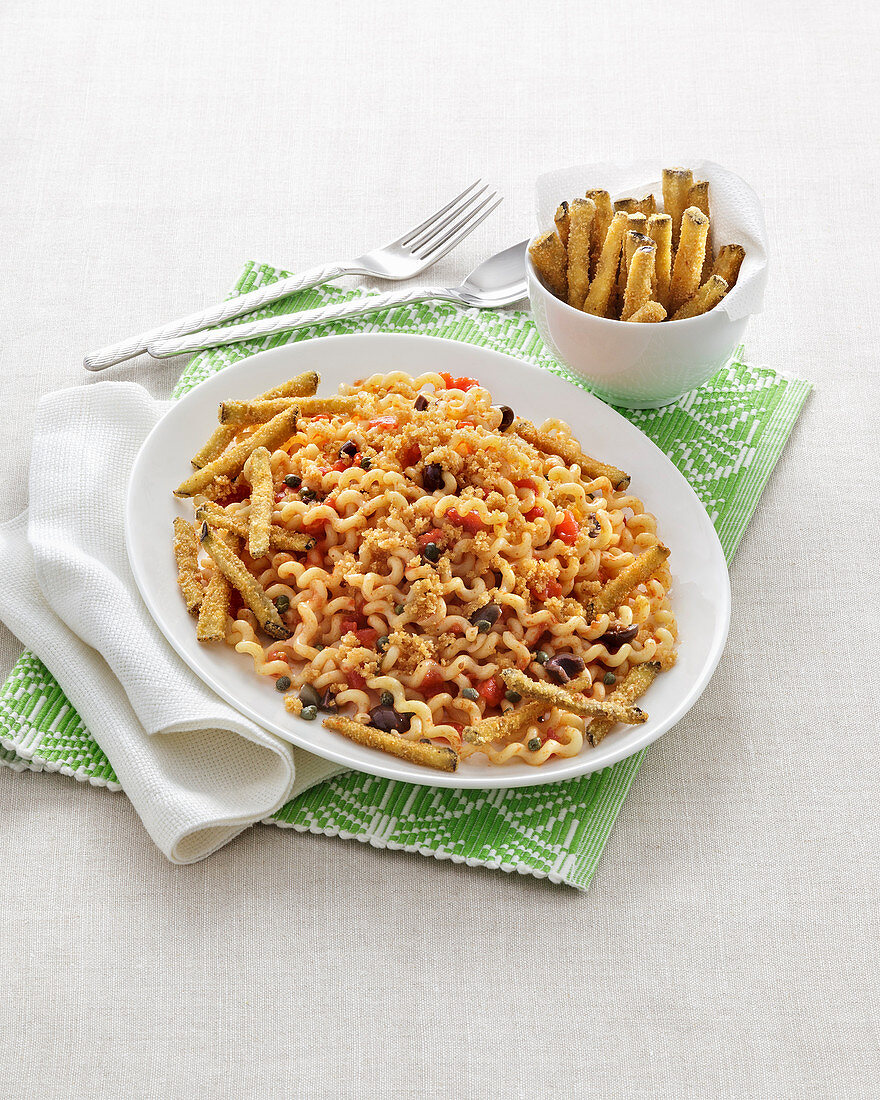 Fusilli with olives, aubergines and roasted breadcrumbs