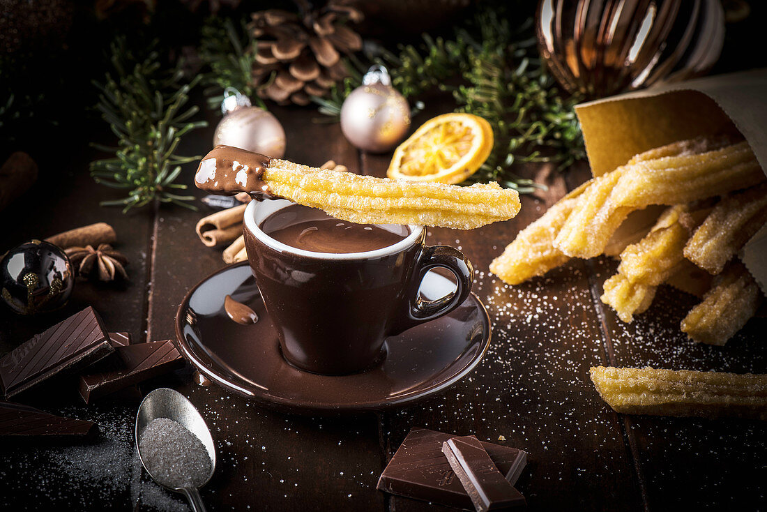 Churros with cinnamon sugar and hot chocolate for Christmas