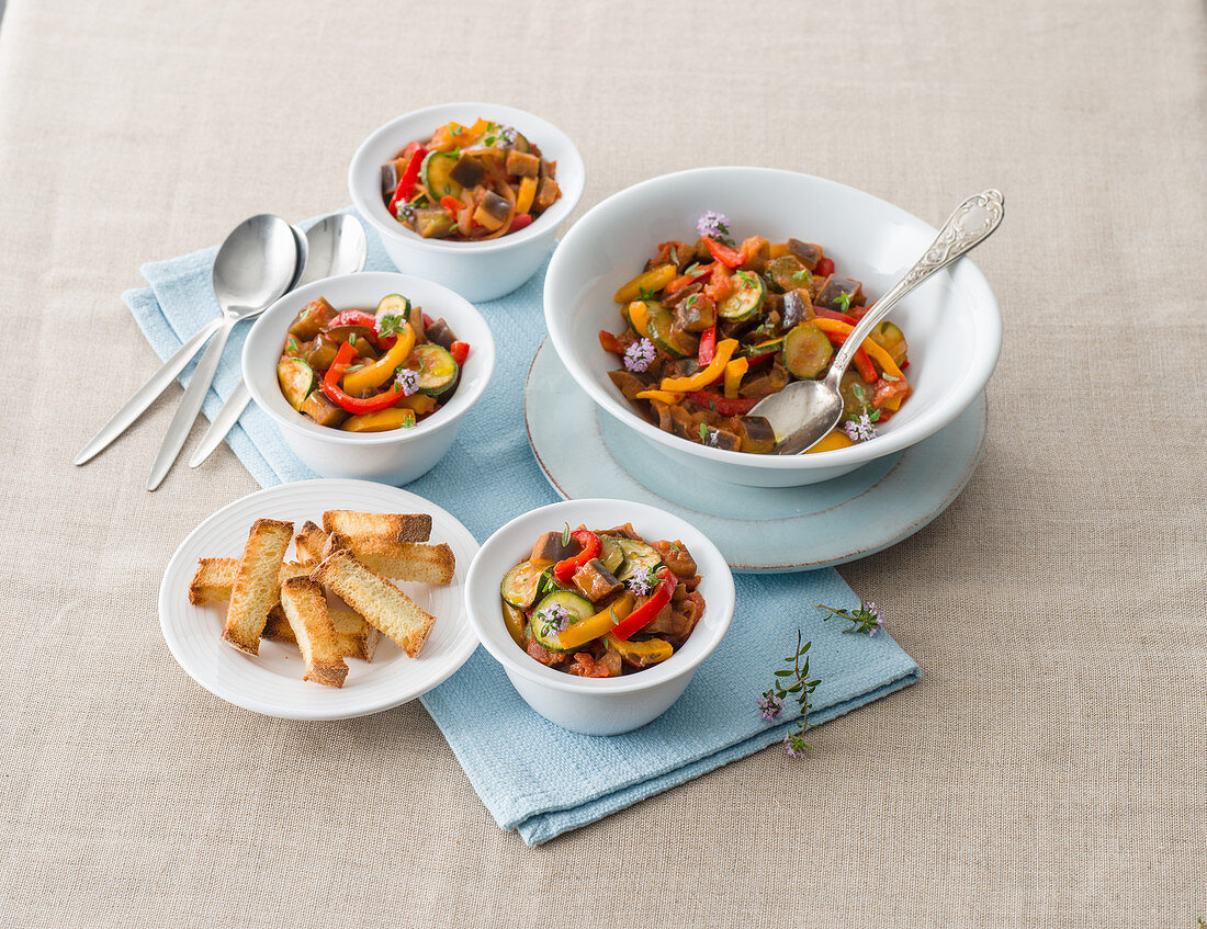 Ratatuia astigiana (vegetable stew with peppers and summer savory, Italy)