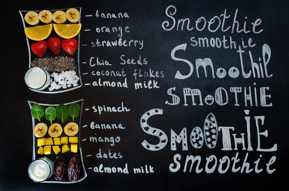 Illustrations and an ingredient list for two fruity smoothies