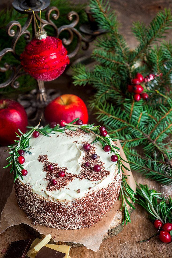 Christmas cake with chocolate