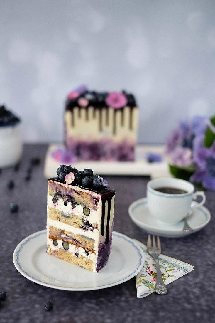 A slice of milk cream and blueberry cake