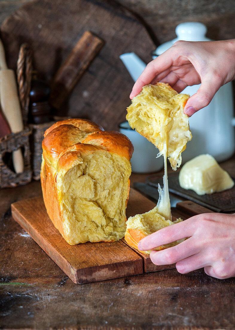 Brioche with mozzarella cheese