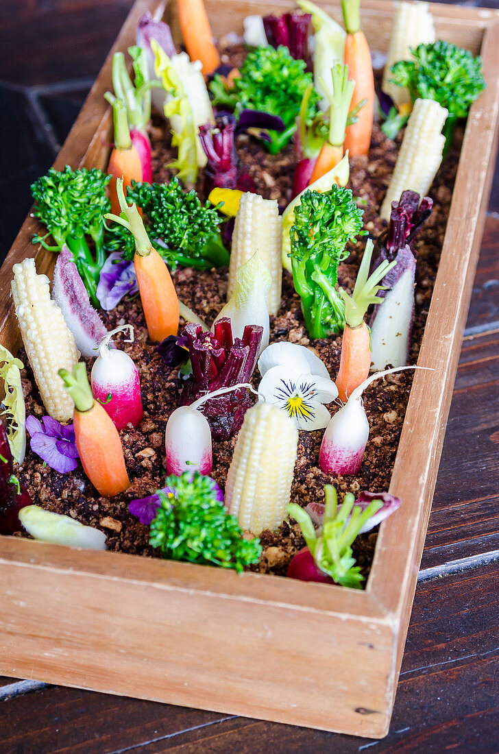 Raw vegetables in olive and sour cream crumble