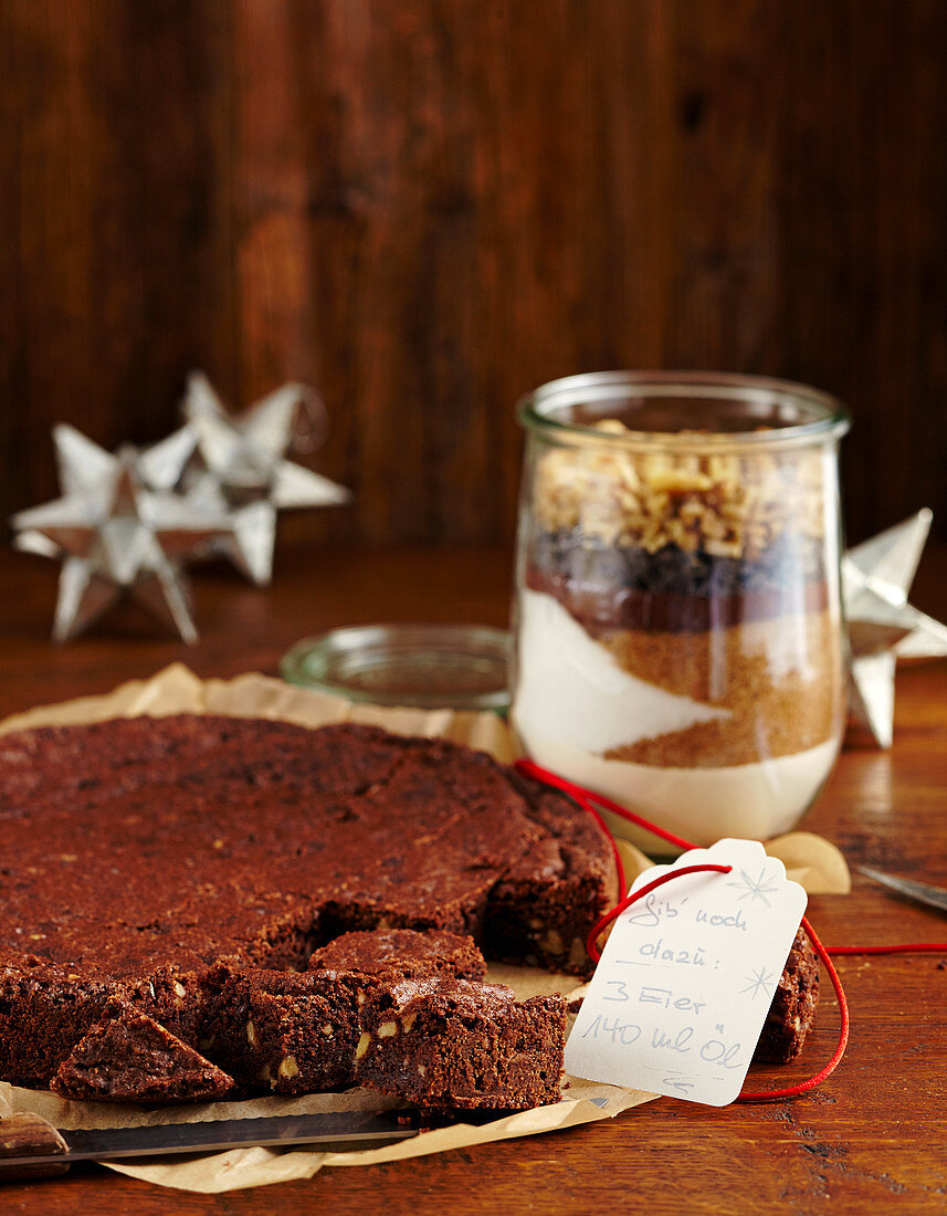 Chocolate and walnut brownies and baking mix in a glass (Christmas gifting)