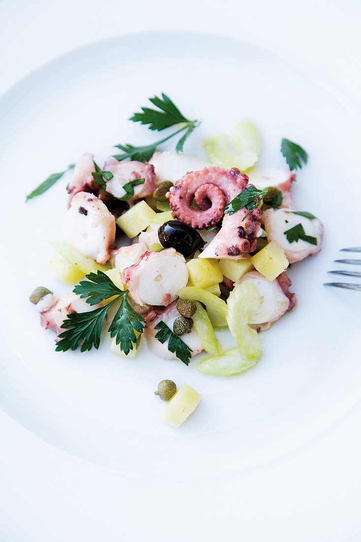 Octopus salad with potatoes and parsley